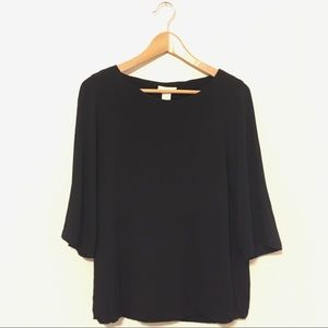 H&M Crepe Blouse Elbow Bell Sleeve Lightweight